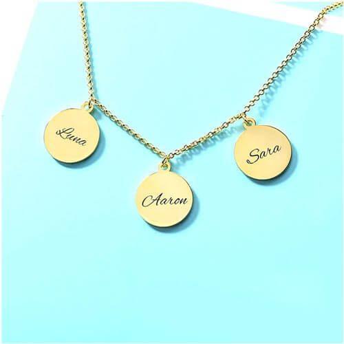 Collier maman 3 médailles à personnaliser plaqué Or 18 carats