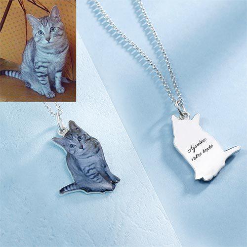 Collier photo chat avec message en Argent Massif 925, le cadeau parfait à offrir à votre petit garçon ou petite fille pour son anniversaire