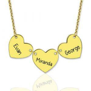 Collier trois cœurs personnalisé