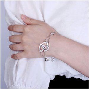 Bracelet coeur personnalisé 2 prénoms Argent