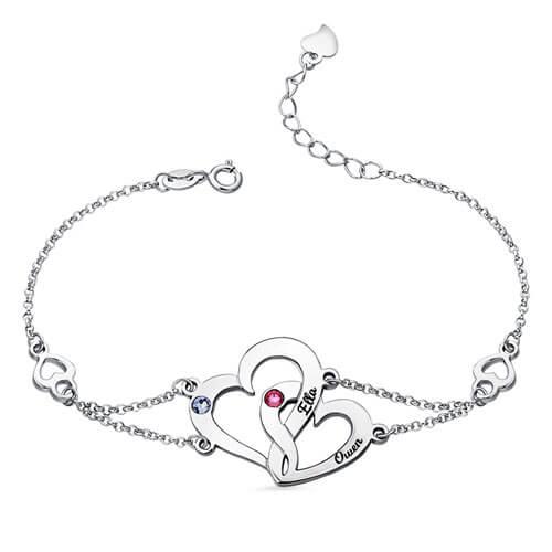 Bracelet 2 prénoms coeur personnalisé en Argent avec 2 pierres de naissance personnalisables