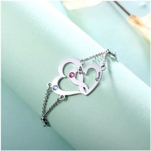 Bracelet 2 prénoms coeur personnalisé