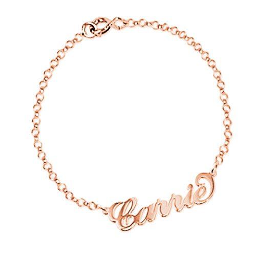 Bracelet personnalisé Carrie Bradshaw en plaqué Or rose 18 cartas bracelet prénom