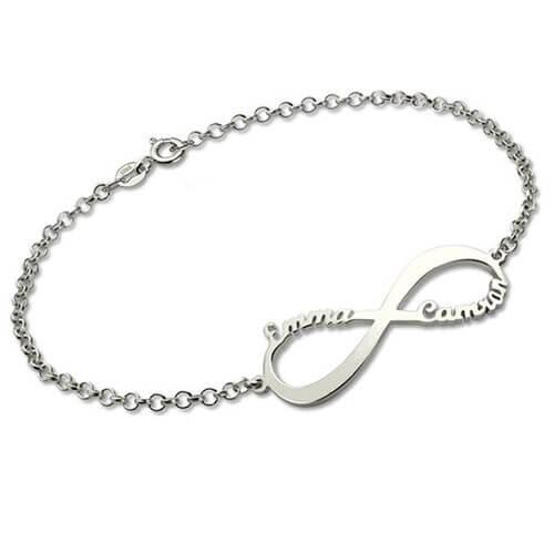 Bracelet personnalisé infini 2 prénoms en Argent Massif