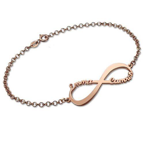 Bracelet personnalisé infini 2 prénoms en plaqué Or rose 18 carats