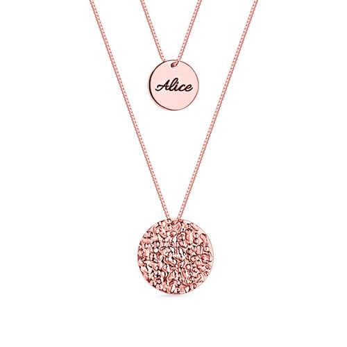 Collier double chaine personnalisé plaqué Or rose