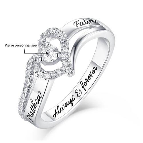 Bague de fiançailles personnalisable en argent 925 cadeau personnalisé