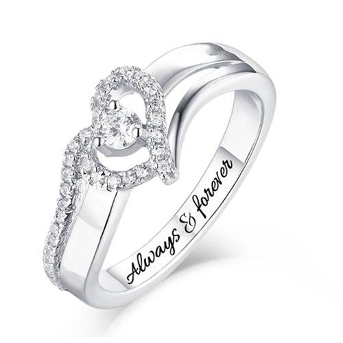 Bague de fiançailles personnalisable avec prénom et pierre de naissance cadeau personnalisée