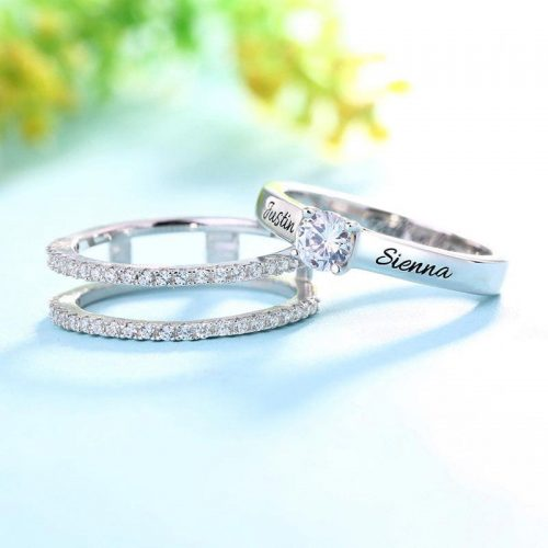 Bague de fiançailles personnalisable plaqué Or blanc magnifique bague à personnaliser avec votre un jolie message d'amour pour votre femme