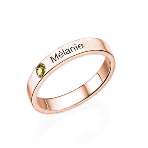 Bague personnalisée femme avec pierre de naissance et prénom en plaqué Or rose un cadeau pour toutes les occasions