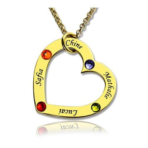 Collier coeur personnalisé prénom et pierres de naissance en plaqué Or 18 carats