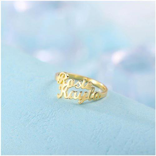 Bague avec deux prénoms collection de bijou personnalisables