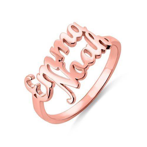 Bague personnalisée avec deux prénoms plaqué OR rose 18 carats le parfait cadeau pour la saint Valentin