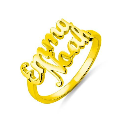 Bague personnalisée avec deux prénoms plaqué Or 18 carats bijoux personnalisable avec 2 prénoms