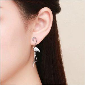 Boucles d'oreilles fantaisie flamant rose