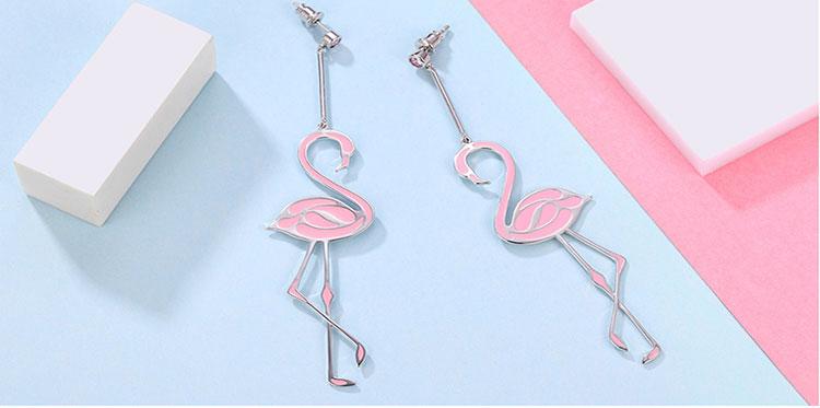 Boucle d'oreilles flamant rose pour femme