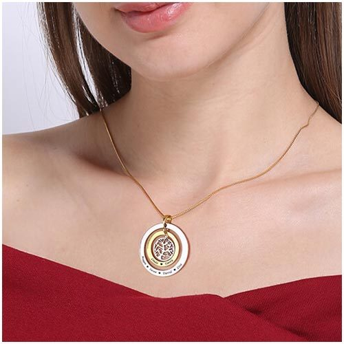 Collier personnalisé prénom arbre de vie avec deux anneaux et une jolie pendentif arbre généalogique