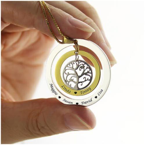 Collier prénom 2 anneaux arbre de vie plaqué Or 18 carats