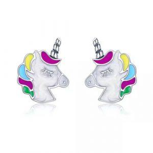 Boucles d'oreilles licorne en argent