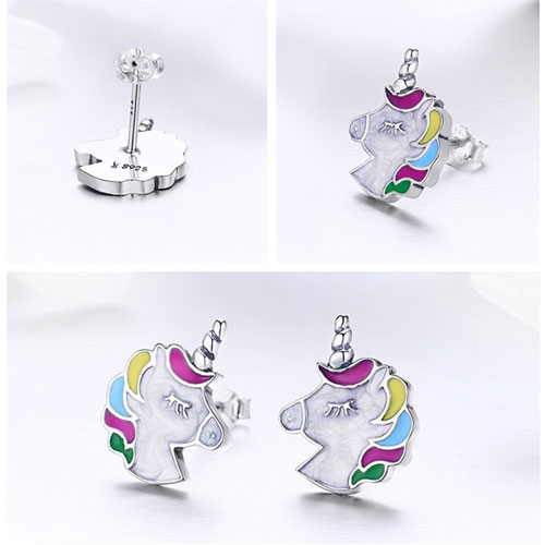 Boucles d'oreilles licorne en Argent 925