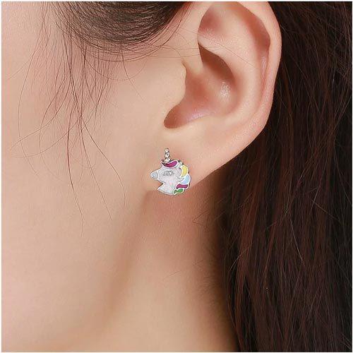 Boucles d'oreilles licorne en Argent-NDXOF
