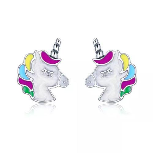 Boucles d'oreilles licorne en Argent massif le bijou fantaisie parfait à offrir à votre enfant ou à votre femme