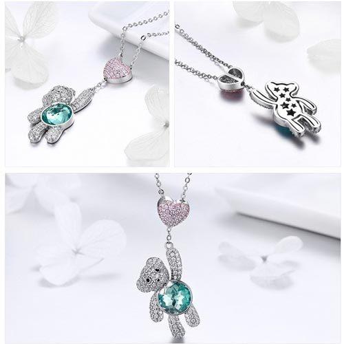 Collier pendentif ours en argent 925 un joli bijou fantaisie pour femme