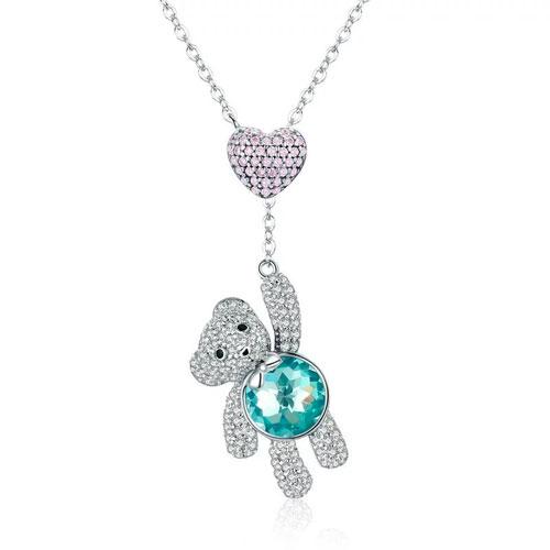 Collier pendentif ours en argent un magnifique bijou fantaisie en forme d'ours et embelli un jolie coeur serti de strass