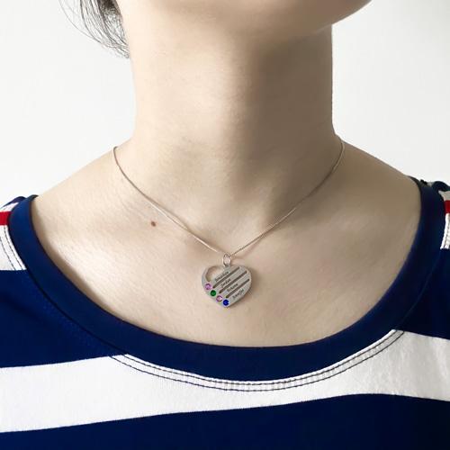 collier à personnaliser avec 4 prénoms 4 pierres de naissance