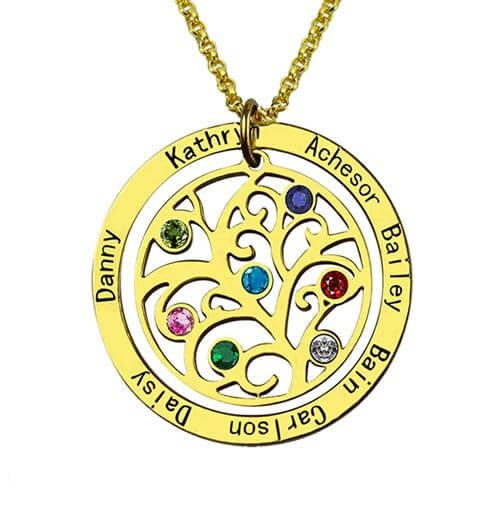 Collier arbre de vie personnalisé plaqué or 18 carats