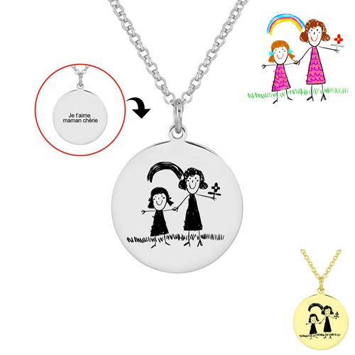 Collier dessin d'enfant personnalisé, transformez les dessins de vos enfants en un bijou gravé