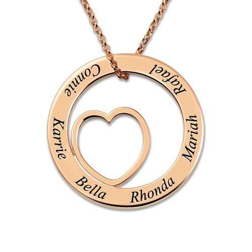 Collier famille à personnaliser en plaqué Ors rose le cadeau idéal à offrir votre maman ou grande mère pour leurs anniversaire ou les fêtes des mères