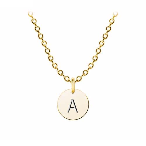 Collier médaille initiale personnalisé plaqué Or