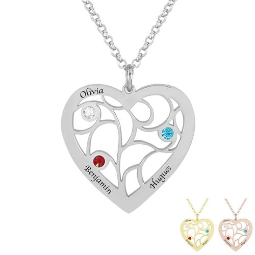 Bijou personnalisé collier en forme de coeur à personnalisé avec prénom et pierres de naissance