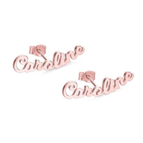 Boucles d'oreilles personnalisées prénom en plaqué Or rose