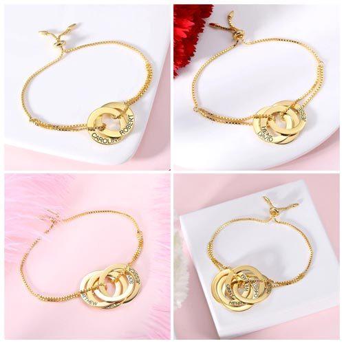 Bracelet anneaux entrelacés personnalisés en plaqué Or 18 carats