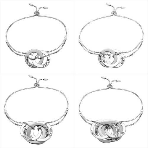 Bracelet anneaux entrelacés personnalisés en argent