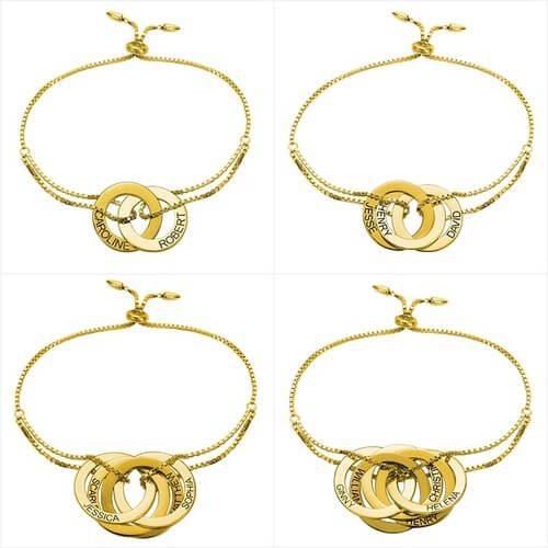 Bracelet anneaux entrelacés personnalisés plaqué Or