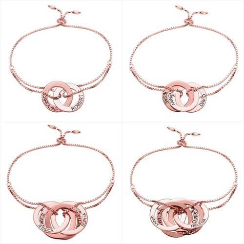 Bracelet anneaux entrelacés personnalisés plaqué Or rose