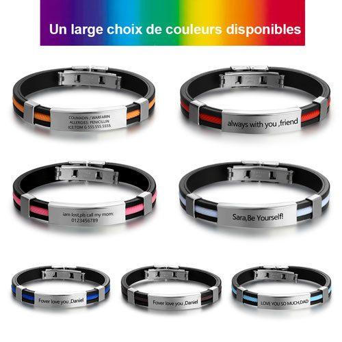 Bracelet homme personnalisé multi couleurs