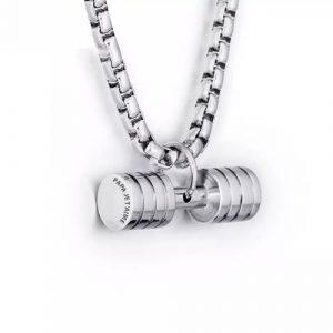 Collier haltère pendentif personnalisé