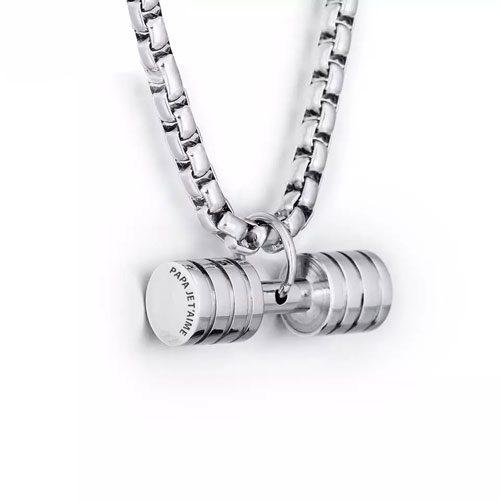 Collier haltère pendentif personnalisé en acier inoxydable