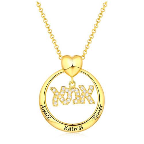 Collier hébreu אמא personnalisé en plaqué Or 18 carats cadeau parfait à offrir pour la fête de mères