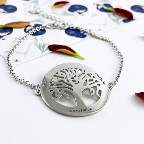 Bracelet arbre de vie en argent massif 925 à personnaliser