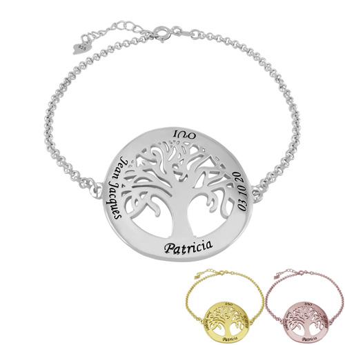 Bijou à personnaliser Bracelet arbre de vie personnalisé avec 4 inscriptions de votre choix