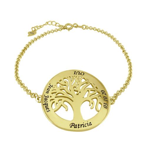 Bracelet arbre de vie personnalisé plaqué Or 18 carats