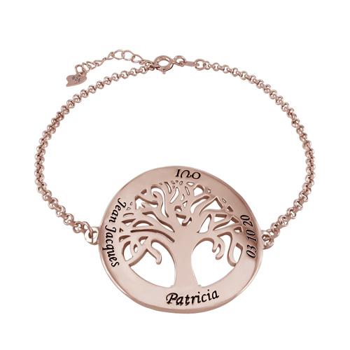 Bracelet arbre de vie personnalisé plaqué Or rose 18 carats