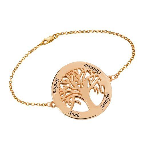 Bracelet arbre de vie personnalisé plaqué Or rose le cadeau parfait à offrir a votre maman ou grand mère