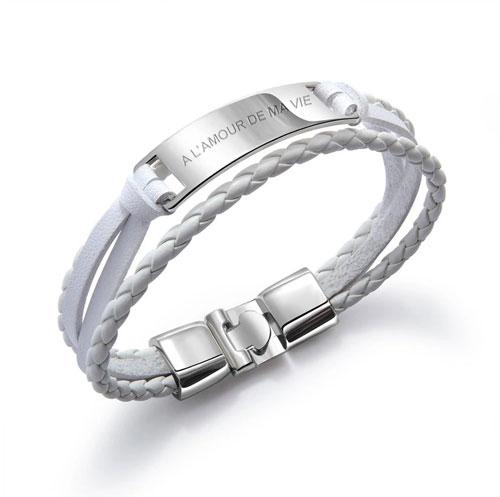 Bracelet personnalisé pour homme bracelet blanc en cuir
