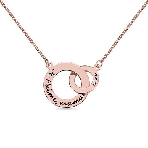 Collier 2 anneaux entrelacés en argent massif plaqué Or et plaqué Or rose 18 carats